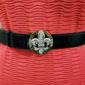 Brighton Black Leather Embellished Buckle Belt